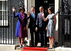 © licensed to London News Pictures. LONDON, UK  24/05/11. Barack Obama, Michelle Obama, David Cameron, Samantha Cameron in Downing Street. Please see special instructions. Photo credit should read Stephen Simpson/LNP