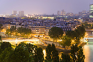 France. Paris. elevated view on Seine river and Saint Louis island view from The hotel de ville roofs