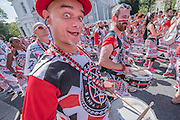 The Batala drum band from France - Crowds flock to see the 50th Notting hill carnival on Bank Holiday Monday.