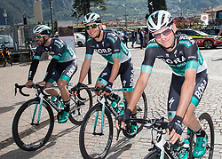 16.04.2018, Folgaria, ITA, Tour of the Alps, Italien 1. Etappe Arco nach Folgaria im Bild v.l. Michael Schwarzmann (GER, Bora - Hansgrohe), Lukas Pöstlberger (AUT, Bora - Hansgrohe), Felix Grossschartner (AUT, Bora - Hansgrohe) // during the Tour of the Alps 1st stage from Arco to Folgaria, Italy on 2018/04/16. EXPA Pictures © 2018, PhotoCredit: EXPA/ Reinhard Eisenbauer