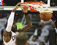 April 17, 2017 - Cleveland, OH, USA - Cleveland Cavaliers forward LeBron James dunks the ball against the Indiana Pacers during the second quarter in Game 2 of an Eastern Conference playoff game on Monday, April 17, 2017, at Quicken Loans Arena in Cleveland, Ohio. (Credit Image: © Leah Klafczynski/TNS via ZUMA Wire)