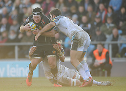 Thomas Waldrom of Exeter Chiefs goes into contact.  - Mandatory byline: Alex Davidson/JMP - 12/03/2016 - RUGBY - Sandy Park -Exeter Chiefs,England - Exeter Chiefs v Newcastle Falcons - Aviva Premiership