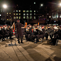 LONDON, ENGLAND - DECEMBER 03:The City of Westminster Salvation Army Band play during the lighting-up ceremony of the Norwegian Christmas tree in Trafalgar Square on December 3, 2009 in London. It is the 63rd year that Norway has gifted the city of London with a Norwegian Christmas tree. on December 3, 2009 in London, England. (Photo by Marco Secchi/Getty Images)