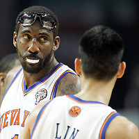 12 March 2012: New York Knicks power forward Amare Stoudemire (1) is seen during the Chicago Bulls 104-99 victory over the New York Knicks at the United Center, Chicago, Illinois, USA.