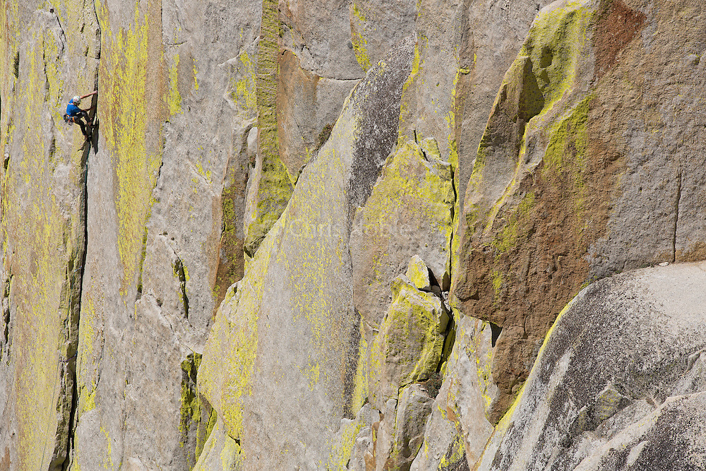 "Conrad Anker climbing ""Atlantis"" (11+) on ""The Sorcerer,"" in The Needles of Southern California."