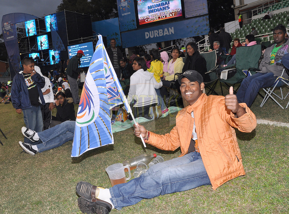 Fans during match 10 of the Airtel CLT20 between The Mumbai Indians and Guyana held at Kingsmead Stadium in Durban on the 16 September 2010..Photo by:Geoff Brink/SPORTZPICS/CLT20.