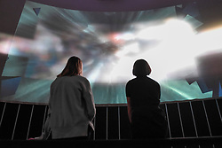 """© Licensed to London News Pictures. 05/09/2018. LONDON, UK.  Press preview of """"Videogames: Design/Play/Disrupt"""", an exhibition at the V&A museum which runs 8 September to 24 February 2019.  The exhibition explores videogame design since the mid-2000s and how technological advancements continue to shape the development of new games. Visitors are encouraged to explore the many interactive items on display.  Photo credit: Stephen Chung/LNP"""