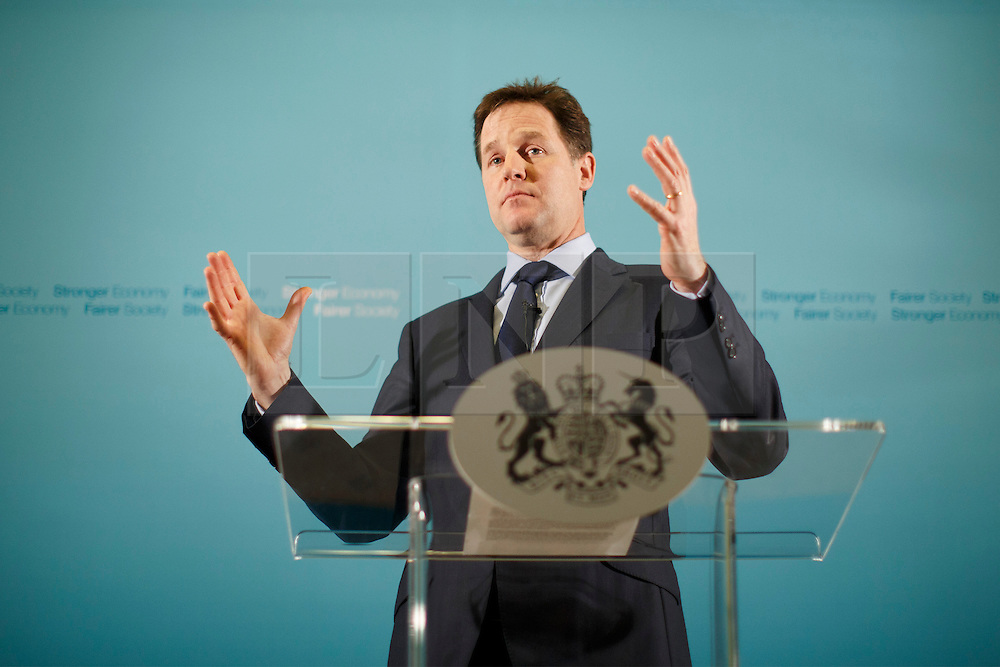 © licensed to London News Pictures. London, UK 06/01/2014. The Deputy Prime Minister, Nick Clegg answers the questions of the media during his monthly press conference held at the Scotland Office on Whitehall, London on Monday, 06 January 2014. Photo credit: Tolga Akmen/LNP