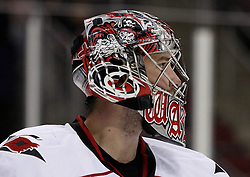Oct 17, 2009; Newark, NJ, USA; Carolina Hurricanes goalie Cam Ward (30) during the second period at the Prudential Center.