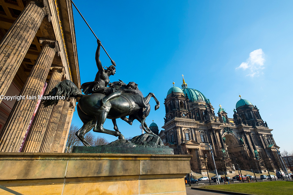 Sculpture outside Altes Museum and Berlin Cathedral on Lustgarten on Museum Island (MuseumsInsel) in Mitte, Berlin, Germany