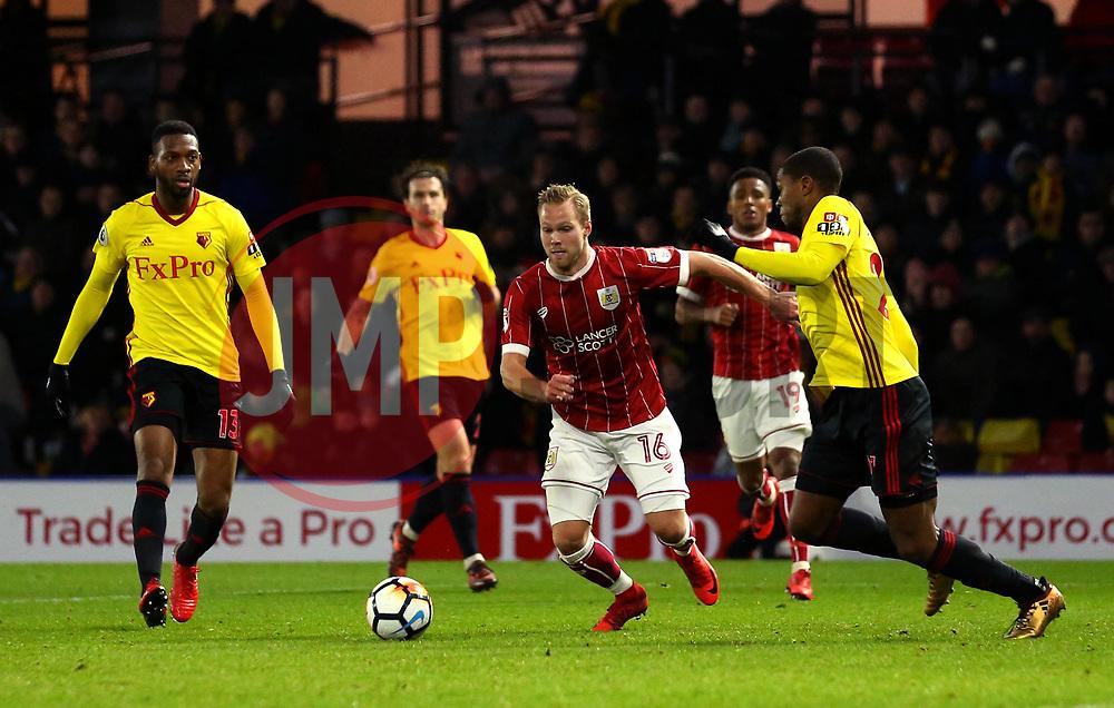 Gustav Engvall of Bristol City takes on Christian Kabasele of Watford - Mandatory by-line: Robbie Stephenson/JMP - 06/01/2018 - FOOTBALL - Vicarage Road - Watford, England - Watford v Bristol City - Emirates FA Cup third round proper