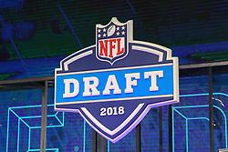 April 26, 2018 - Arlington, TX, U.S. - ARLINGTON, TX - APRIL 26:  The 2018 NFL Draft Logo during the first round of the 2018 NFL Draft at AT&T Statium on April 26, 2018 at AT&T Stadium in Arlington Texas.  (Photo by Rich Graessle/Icon Sportswire) (Credit Image: © Rich Graessle/Icon SMI via ZUMA Press)