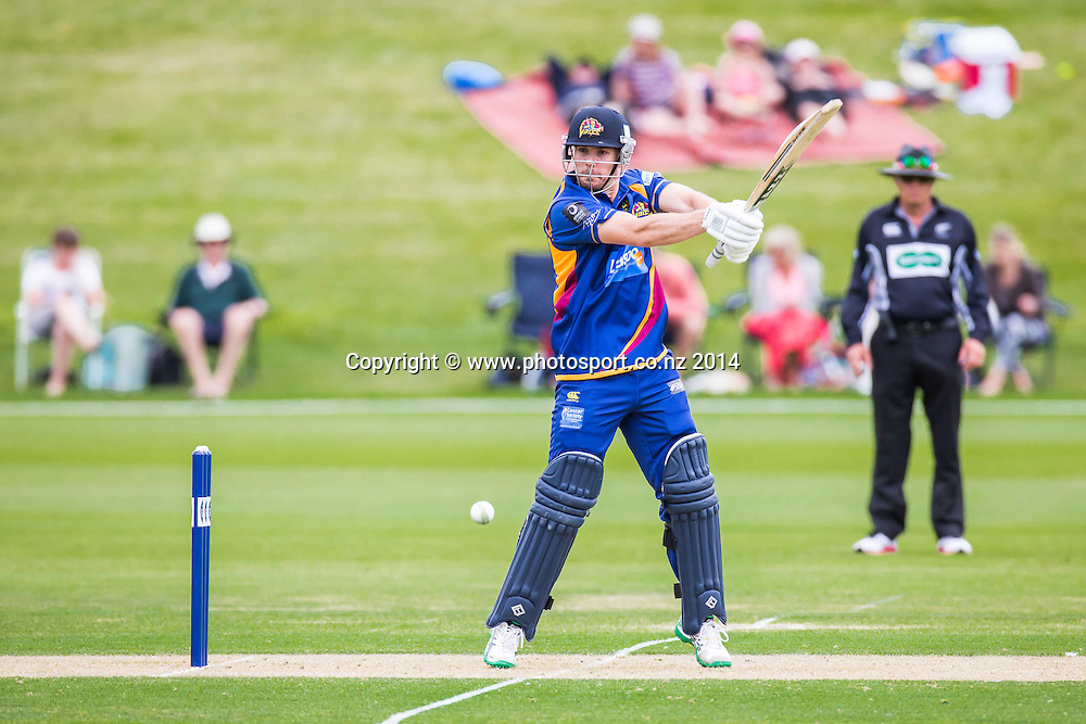 Iain Robertson bats for the Otago Volts - Ford Trophy - Volts v Firebirds, Queenstown Events Centre, Queenstown<br /> List-A Match, 30 December 2014, CREDIT: Libby Law/www.photosport.co.nz