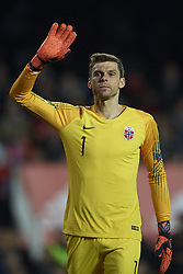 March 23, 2019 - Valencia, Valencia, Spain - Rune Jarstein of Norway during the 2020 UEFA European Championships group F qualifying match between Spain and Norway at Estadi de Mestalla on March 23, 2019 in Valencia, Spain. (Credit Image: © Jose Breton/NurPhoto via ZUMA Press)