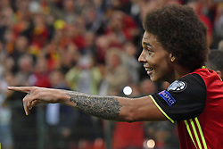 August 31, 2017 - Liege, BELGIUM - Belgium's Axel Witsel celebrates after scoring during a soccer between Belgian national soccer team Red Devils and Gibraltar, a World Cup 2018 qualification game in Group H, Thursday 31 August 2017 in Liege, Belgium. BELGA PHOTO DIRK WAEM (Credit Image: © Dirk Waem/Belga via ZUMA Press)