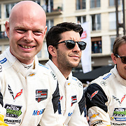 Drivers take part in The Driver's Parade for the 86th running of the 24 Hours of Le Mans at the Circuit de la Sarthe in France.