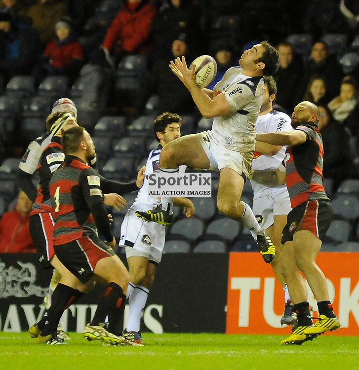 Marc Baget collects a high ball during the Edinburgh Rugby v Agen European Challenge Cup game, ......(c) COLIN LUNN | SportPix.org.uk