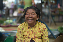 Portrait of a vietnamese woman in Long Xuyen market, Mekong Delta, Vietnam, Southeast Asia