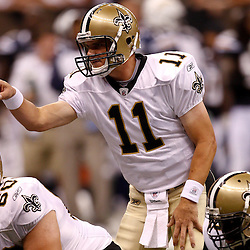 August 27, 2010; New Orleans, LA, USA; New Orleans Saints quarterback Patrick Ramsey (11) under center during the second half of a preseason game at the Louisiana Superdome. The New Orleans Saints defeated the San Diego Chargers 36-21. Mandatory Credit: Derick E. Hingle