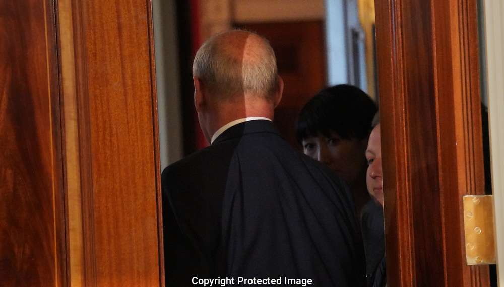 White House Chief of Staff John Kelly leaves the East Room of the White House on April 3, 2018<br />