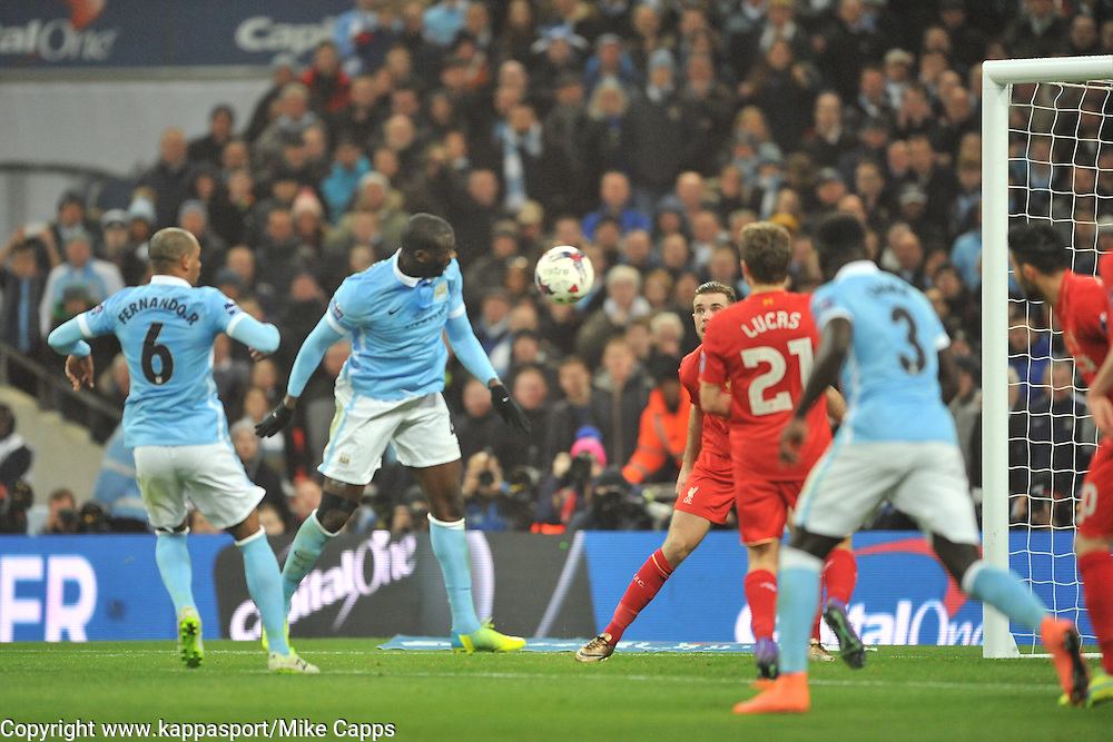 MANCHESTER CITY YAYA TOURE TRY A SHOT ON LIVERPOOLS GAOAL, Liverpool FC v Manchester City FC Capital One Cup Final, Wembley Stadium, Sunday 28th Febuary 2016