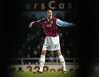 Photo: Chris Ratcliffe.<br />West Ham United v Wigan Athletic. The Barclays Premiership. 28/12/2005.<br />Bobby Zamora can't see the way against Wigan.