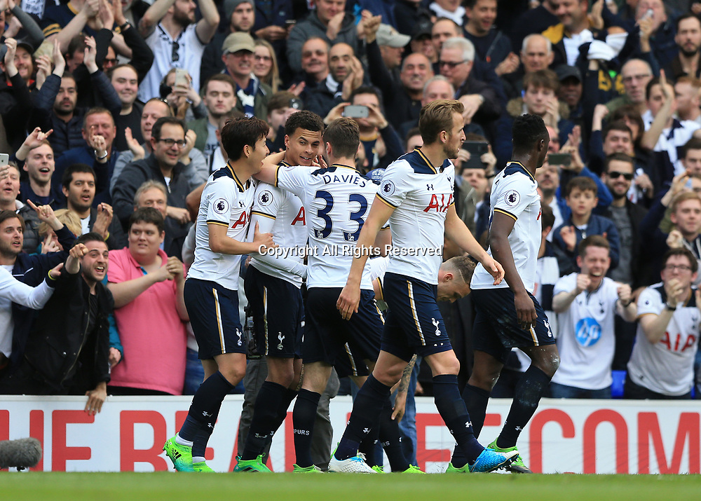 April 30th 2017, White Hart Lane, Tottenham, London England; EPL Premier League football Tottenham Hotspur versus Arsenal; Dele Alli of Tottenham Hotspur celebrates after scoring his sides 1st goal to make it 1-0 with his team