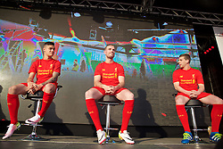 LIVERPOOL, ENGLAND - Monday, May 9, 2016: Liverpool's Philippe Coutinho Correia, captain Jordan Henderson and Jon Flanagan at the launch of the New Balance 2016/17 Liverpool FC kit at a live event in front of supporters at the Royal Liver Building on Liverpool's historic World Heritage waterfront. (Pic by Lexie Lin/Propaganda)