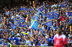 Cape Town-18031 DHL Stomers fans cheer for their team as they won 37-20 against the blues in the Super Rugby tournament  at Newlands rugby stadium.Photograph:Phando Jikelo/African News Agency/ANA