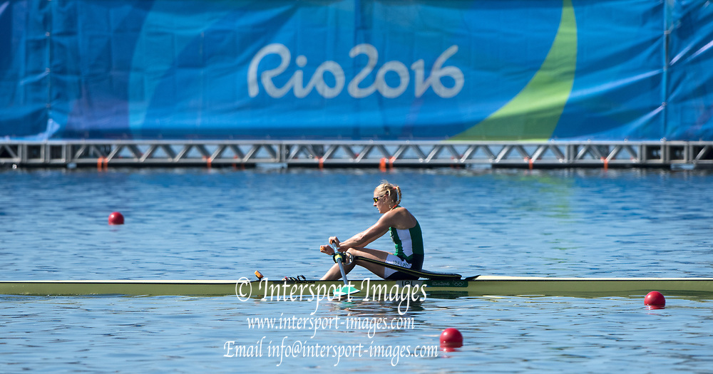 Rio de Janeiro. BRAZIL   IRL W1X. Sanita PUSPURE,     2016 Olympic Rowing Regatta. Lagoa Stadium,<br /> Copacabana,  &ldquo;Olympic Summer Games&rdquo;<br /> Rodrigo de Freitas Lagoon, Lagoa. Local Time 10:07:05  Saturday  13/08/2016<br /> [Mandatory Credit; Peter SPURRIER/Intersport Images]
