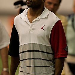 12 August 2009: Boxer, Roy Jones Jr. who visited with the team walks on the sideline before the start of practice during New Orleans Saints training camp at the team's indoor practice facility in Metairie, Louisiana.