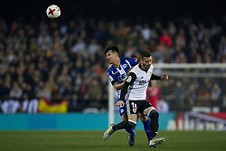 January 17, 2018 - Valencia, Valencia, Spain - Hernan Perez (L) of Deportivo Alaves competes for the ball with Jose Luis Gaya of Valencia CF during the Copa del Rey quarter-final first leg  game between Valencia CF and Deportivo Alaves at Mestalla stadium on January 17, 2018 in Valencia, Spain  (Credit Image: © David Aliaga/NurPhoto via ZUMA Press)