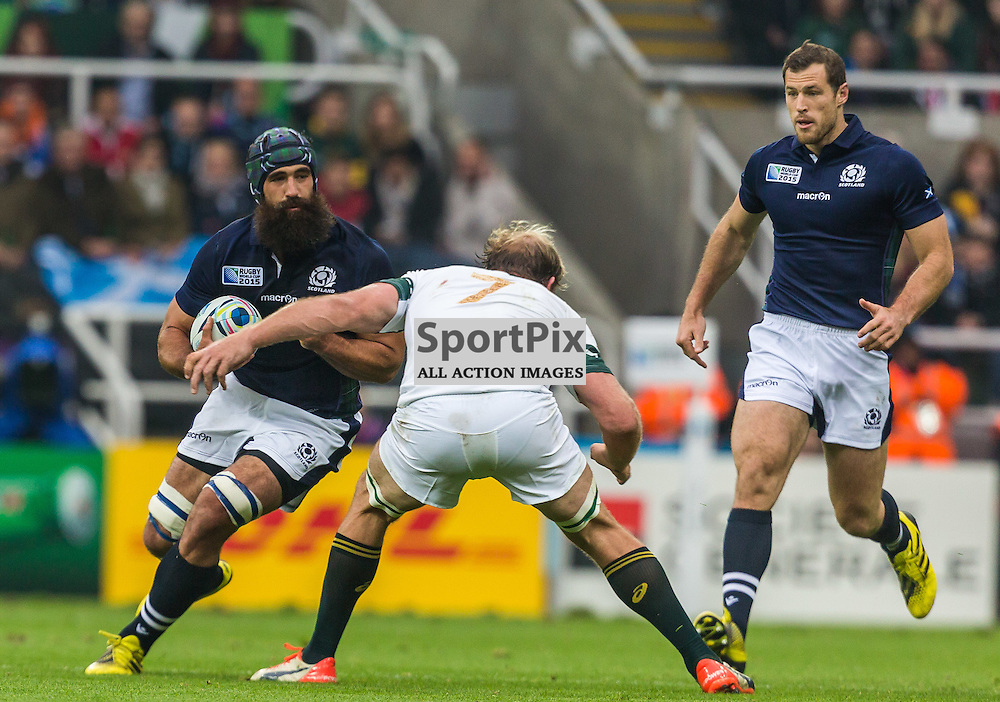 Josh Strauss and Shalk Burger in action during the Rugby World Cup match between Scotland and South Africa (c) ROSS EAGLESHAM | Sportpix.co.uk