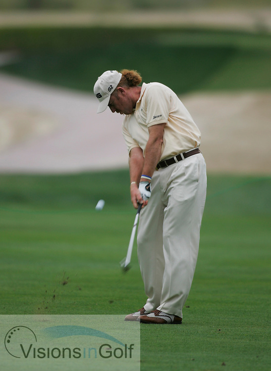 Miquel Angel Jimenez at the Dubai Desert Classic 2005, Emirates GC, UAE.  Photo Mark Newcombe
