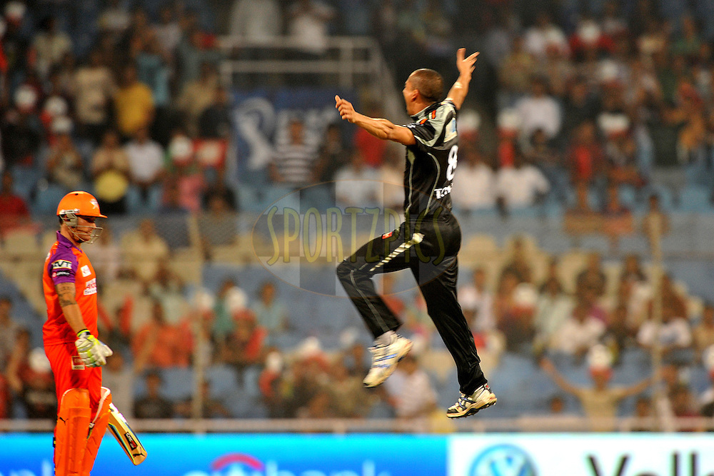 Alfonso Thomas of Pune Warriors India celebrate the wicket of Brendon McCullum of Kochi Tuskers Kerala as the latter looks on during  match 10 of the Indian Premier League ( IPL ) Season 4 between the Pune Warriors and the Kochi Tuskers Kerala held at the Dr DY Patil Sports Academy, Mumbai India on the 12th April 2011..Photo by Pal Pillai /BCCI/SPORTZPICS