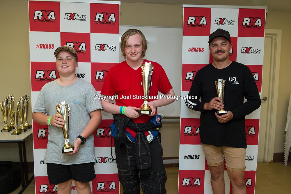 Production Class Podium, Sean Bolger, Troy Dowel, Andrew Murdoch - Rallycross Australia - Rnd 1 - February 26th 2017. MARULAN DIRT & TAR CIRCUITS, MARULAN, NSW