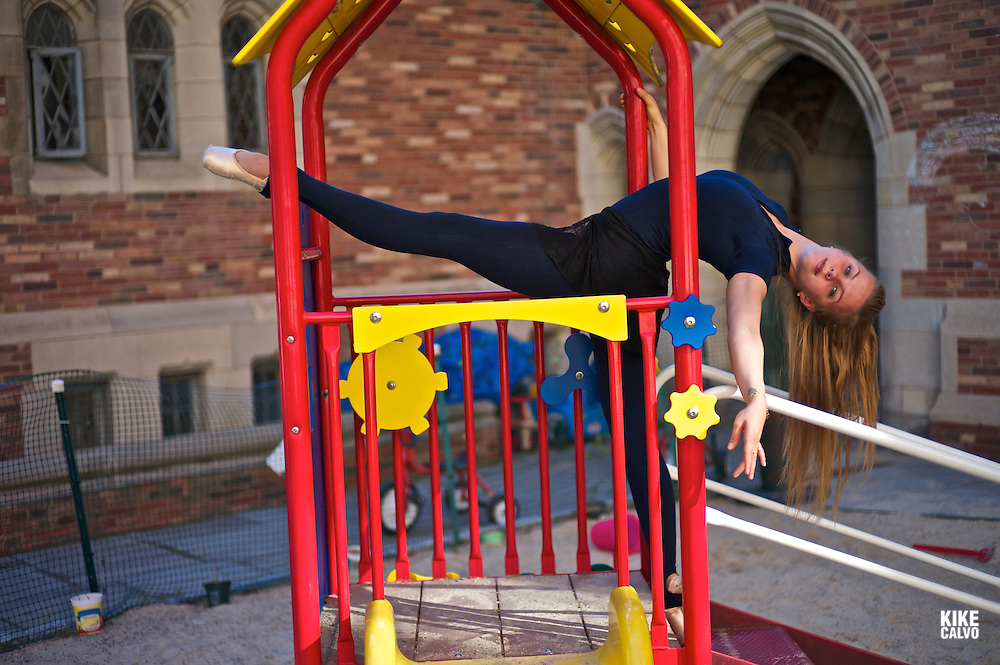Classic ballerina at a kindergarden playground on Yale campus