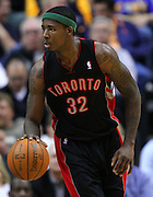 April 09, 2012; Indianapolis, IN, USA; Toronto Raptors power forward Ed Davis (32) brings the ball up court against the Indiana Pacers at Bankers Life Fieldhouse. Indiana defeated Toronto 103-98. Mandatory credit: Michael Hickey-US PRESSWIRE