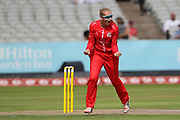 Lancashire Thunders Sophie Ecclestone celebrates a wicket during the Women's Cricket Super League match between Lancashire Thunder and Surrey Stars at the Emirates, Old Trafford, Manchester, United Kingdom on 7 August 2018.