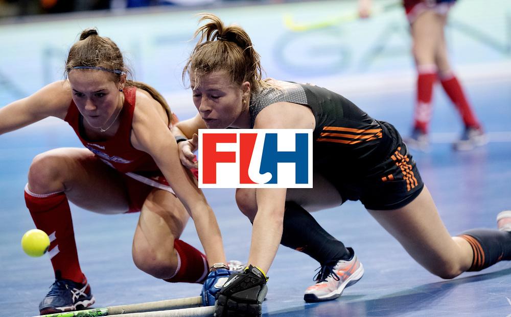 BERLIN - Indoor Hockey World Cup<br /> Women: Netherlands - United States<br /> foto: McDONOUGH Anarose and Fabienne Roosen.<br /> WORLDSPORTPICS COPYRIGHT FRANK UIJLENBROEK
