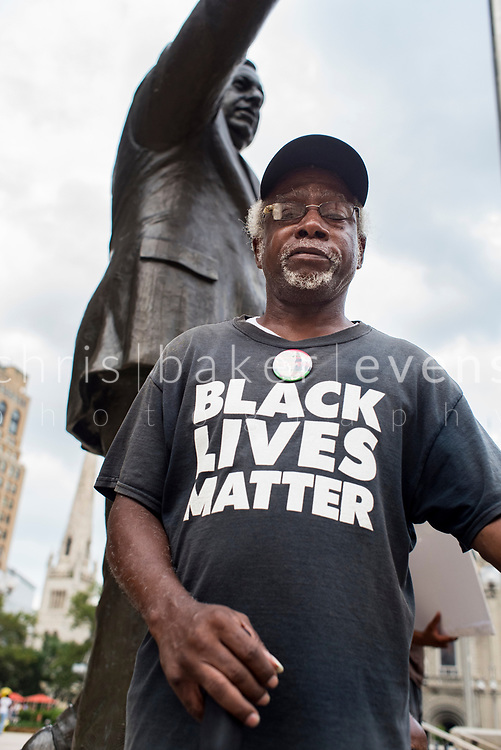 Philadelphia, Pennsylvania / USA. Philly for REAL Justice members hold a weekly protest in front of the statue of former Philadelphia police chief, Frank Rizzo. The organization highlighted the former police chief's record of brutality towards the Black community and is calling for the statue to be removed. August 07 2018.