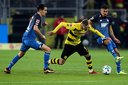 DORTMUND, Dec. 17, 2017  Andriy Yarmolenko (C) of Dortmund fights for the ball during the Bundesliga match between Borussia Dortmund and TSG 1899 Hoffenheim at Signal Iduna Park on December 16, 2017 in Dortmund, Germany. Dortmund won 2-1. (Credit Image: © Joachim Bywaletz/Xinhua via ZUMA Wire)