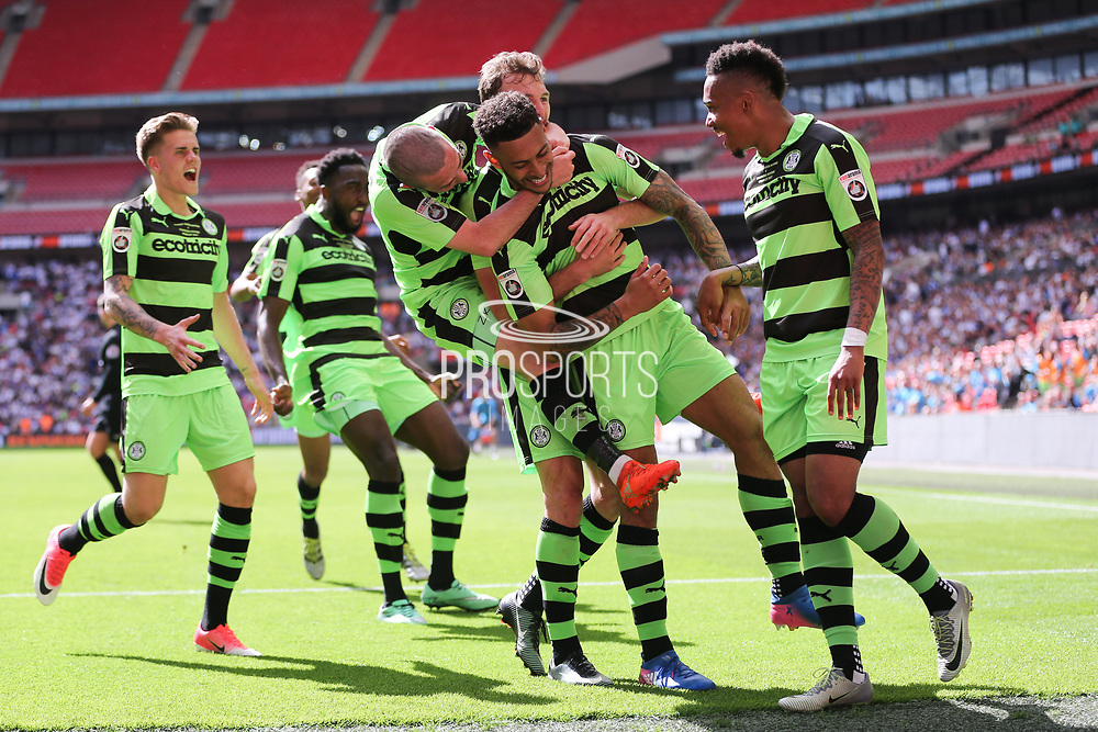 Forest Green Rovers Kaiyne Woolery(14) scores a goal 3-1 and celebrates with his team mates during the Vanarama National League Play Off Final match between Tranmere Rovers and Forest Green Rovers at Wembley Stadium, London, England on 14 May 2017. Photo by Shane Healey.