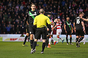 Stoke City defender Philipp Wollscheid isn't happy with the referees decison during the The FA Cup third round match between Doncaster Rovers and Stoke City at the Keepmoat Stadium, Doncaster, England on 9 January 2016. Photo by Simon Davies.
