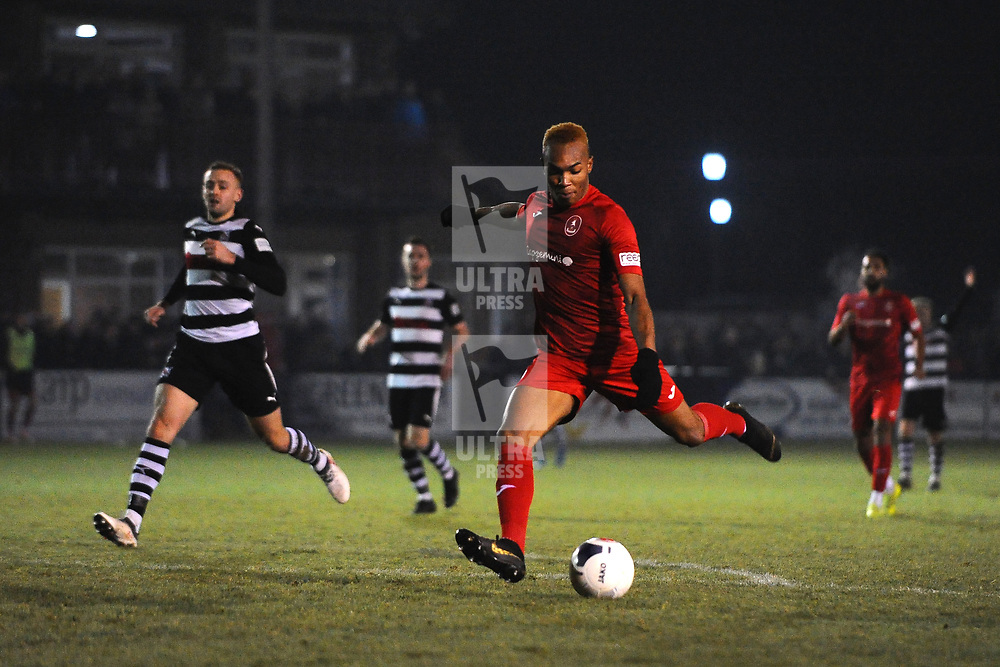 TELFORD COPYRIGHT MIKE SHERIDAN GOAL. Marcus Dinanga of Telford scores to make it 3-2 during the Vanarama Conference North fixture between Darlington and AFC Telford United at Blackwell Meadows on Saturday, November 30, 2019.<br /> <br /> Picture credit: Mike Sheridan/Ultrapress<br /> <br /> MS201920-032