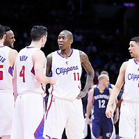 23 February 2015: Los Angeles Clippers forward Hedo Turkoglu (15), Los Angeles Clippers forward Glen Davis (0), Los Angeles Clippers guard J.J. Redick (4), Los Angeles Clippers guard Jamal Crawford (11) and Los Angeles Clippers guard Austin Rivers (25) are seen during the Memphis Grizzlies 90-87 victory over the Los Angeles Clippers, at the Staples Center, Los Angeles, California, USA.