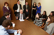 State Sen. Bill Larkin, center, talks to Pine Bush High School students during a meeting in his Abany office on Monday, March 1, 2010. Assemblywoman Nancy Calhoun is standing at left. The students are concerned that school programs would suffer under proposed budget cuts.