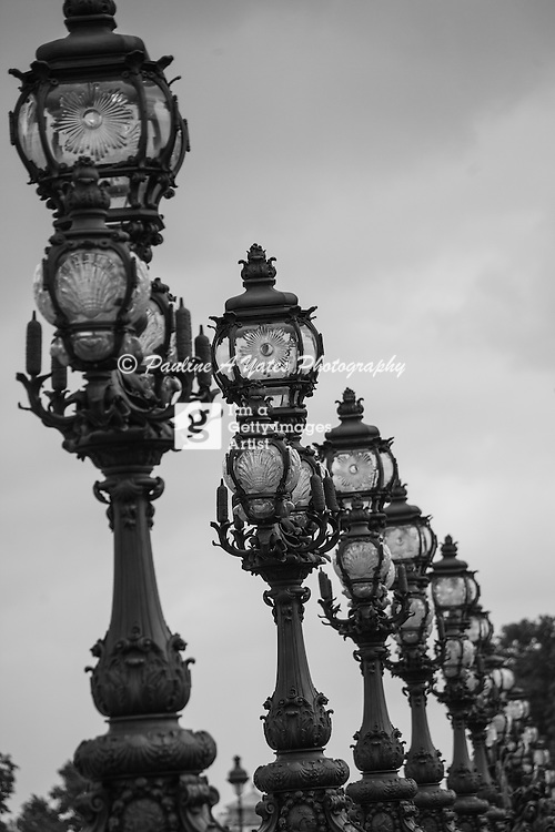 Taken on the Pont Alexandre III bridge. These Art Nouveau lamps line both sides of this bridge, considered the most decorative bridge in Paris.