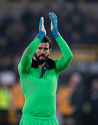 WOLVERHAMPTON, ENGLAND - Thursday, January 23, 2020: Liverpool's goalkeeper Alisson Becker celebrates after the FA Premier League match between Wolverhampton Wanderers FC and Liverpool FC at Molineux Stadium. Liverpool won 2-1. (Pic by David Rawcliffe/Propaganda)