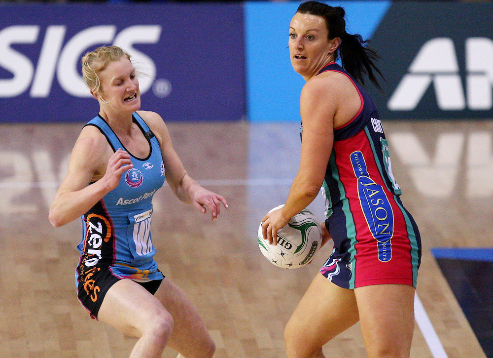 Vixens Bianca Chatfield, right, looks to pass the ball against the Steel in the ANZ Championship netball match at Invercargill Velodrome, Invercargill, New Zealand, Saturday, June 30, 2012. Credit:SNPA / Dianne Manson